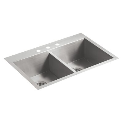 "Vault 33"" L x 22"" W x 9-5/16"" Top-Mount/Under-Mount Double-Equal Bowl Kitchen Sink with 3 Faucet Holes"