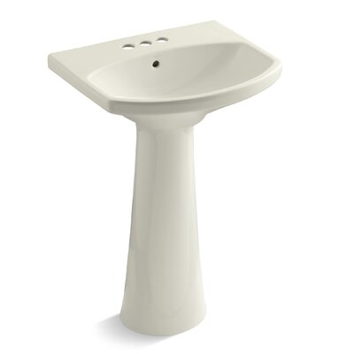 """Cimarron Ceramic 23"""" Pedestal Bathroom Sink with Overflow Finish: Biscuit, Faucet Hole Style: 4'' Centerset"""