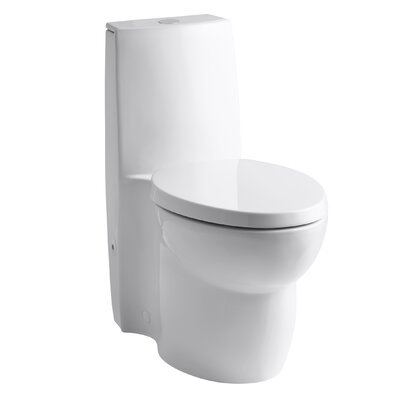 Saile Skirted One-Piece Elongated Dual-Flush Toilet with Top Actuator and Saile Quiet-Close Toilet Seat with Quick-Release Functionality Finish: White