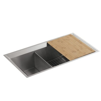"""Poise 33"""" L x 18"""" W x 9-1/2"""" Under-Mount Large/Medium Double-Bowl Kitchen Sink, Includes Cutting Board and Bottom Bowl Rack Finish: Standard"""