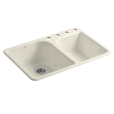 """Turnings 33"""" L x 22"""" W x 10-5/8"""" Top-Mount Large/Medium, High/Low Double-Bowl Kitchen Sink with 4 Faucet Holes Finish: Almond"""