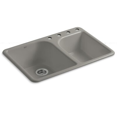 """Turnings 33"""" L x 22"""" W x 10-5/8"""" Top-Mount Large/Medium, High/Low Double-Bowl Kitchen Sink with 4 Faucet Holes Finish: Cashmere"""