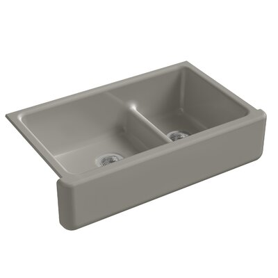 "Whitehaven Self-Trimming Smart Divide 35-11/16"" L x 21-9/16"" W x 9-5/8"" Under-Mount Large/Medium Double-Bowl Kitchen Sink with Tall Apron Finish: Cashmere"