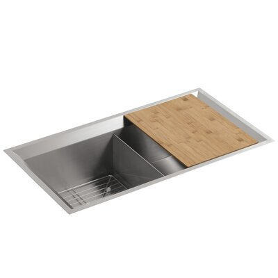 """Poise 33"""" L x 18"""" W x 9-1/2"""" Under-Mount Double-Equal Bowl Kitchen Sink with Mirror Finished Rim, Includes Cutting Board and Bottom Bowl Rack Finish: Standard"""