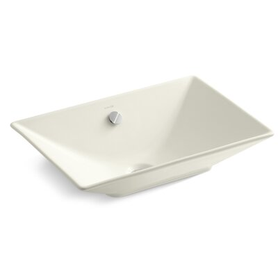 Reve Ceramic Rectangular Vessel Bathroom Sink with Overflow Sink Finish: Biscuit