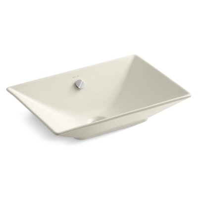 Reve Ceramic Rectangular Vessel Bathroom Sink with Overflow Sink Finish: Almond