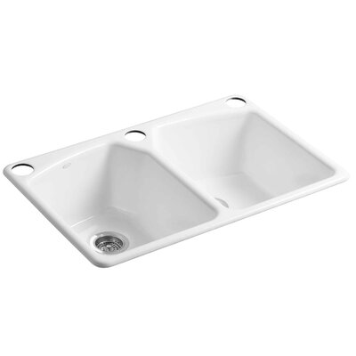 """Kohler Tanager 33"""" x 22"""" x 9-5/8"""" Under-Mount Double-Equal Bowl Kitchen Sink with Three Oversize Holes"""