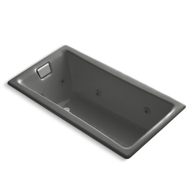 "Tea-For-Two 60"" x 32"" Whirlpool Bathtub Finish: Thunder Grey"
