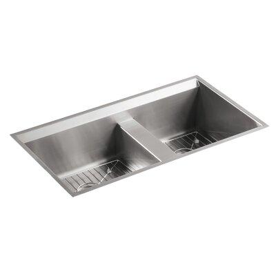 "8 Degree 33"" L x 18"" W x 10-3/16"" Under-Mount Large/Medium Double-Bowl Kitchen Sink"