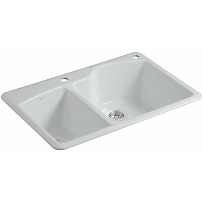"Wheatland 33"" L x 22"" W x 9-5/8"" Top-Mount Large/Medium Double-Bowl Kitchen Sink Finish: Ice Grey, Number of Faucet Holes: 2"