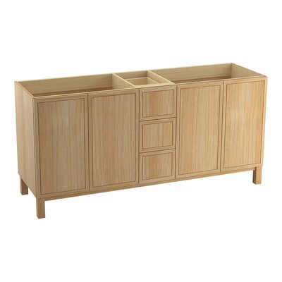 "Jacquard 72"" Vanity with Furniture Legs, 4 Doors and 3 Drawers Finish: Khaki White Oak"