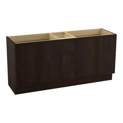 """Jacquard 72"""" Vanity with Toe Kick, 4 Doors and 3 Drawers, Split Top Drawer Finish: Claret Suede"""