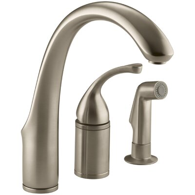 """Fort 3-Hole Remote Valve Kitchen Sink Faucet with 9"""" Spout with Matching Finish Sidespray Finish: Vibrant Brushed Bronze"""