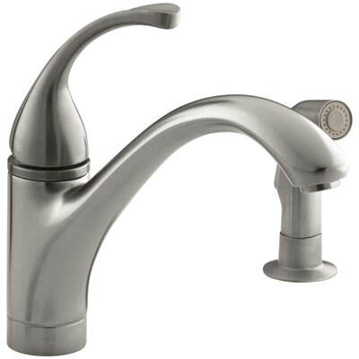 """Fort 2-Hole Kitchen Sink Faucet with 9-1/16"""" Spout, Matching Finish Sidespray Finish: Vibrant Stainless"""