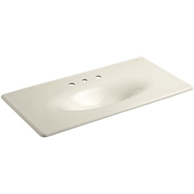 """Iron Impressions 44"""" Single Bathroom Vanity Top Finish: Almond, Faucet Hole Style: 8'' Widespread"""