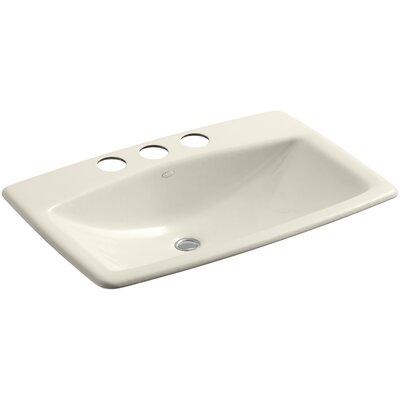 Man's Lav Metal Rectangular Undermount Bathroom Sink with Overflow Sink Finish: Almond