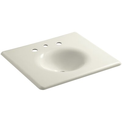 """Iron Impressions 26"""" Single Bathroom Vanity Top Finish: Biscuit, Faucet Hole Style: 8'' Widespread"""