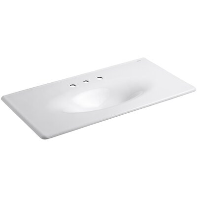 """Iron Impressions 44"""" Single Bathroom Vanity Top Finish: White, Faucet Hole Style: 8'' Widespread"""