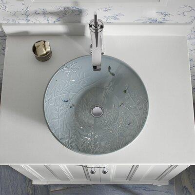 Hydrorail Ceramic Circular Vessel Bathroom Sink Sink Finish: Translucent Blue