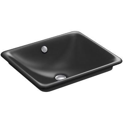 Iron Plains? Metal Rectangular Vessel Bathroom Sink with Overflow Finish: Black Black