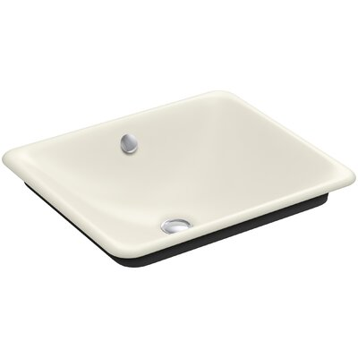 Iron Plains? Metal Rectangular Vessel Bathroom Sink with Overflow Finish: Biscuit