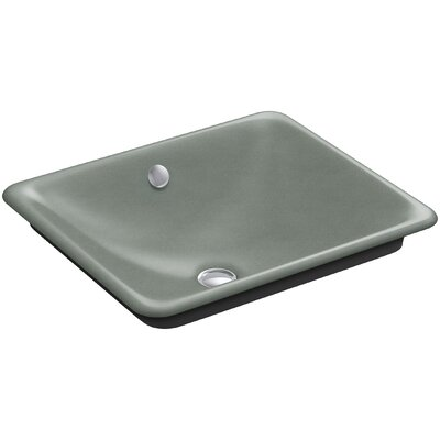 Iron Plains? Metal Rectangular Vessel Bathroom Sink with Overflow Finish: Basalt