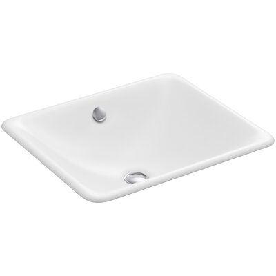 Iron Plains? Metal Rectangular Undermount Bathroom Sink with Overflow Finish: White