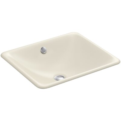 Iron Plains? Metal Rectangular Undermount Bathroom Sink with Overflow Finish: Almond