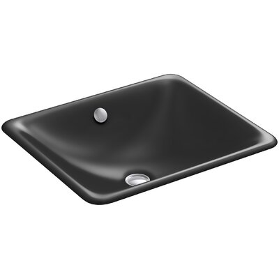 Iron Plains? Metal Rectangular Undermount Bathroom Sink with Overflow Finish: Black Black