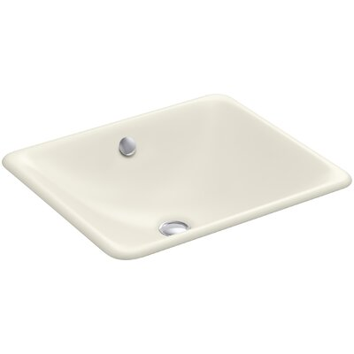 Iron Plains? Metal Rectangular Undermount Bathroom Sink with Overflow Finish: Biscuit