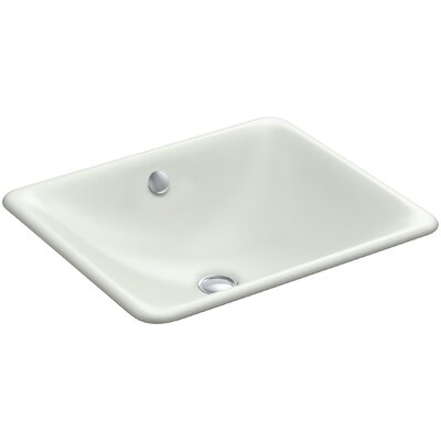 Iron Plains? Metal Rectangular Undermount Bathroom Sink with Overflow Finish: Sea Salt