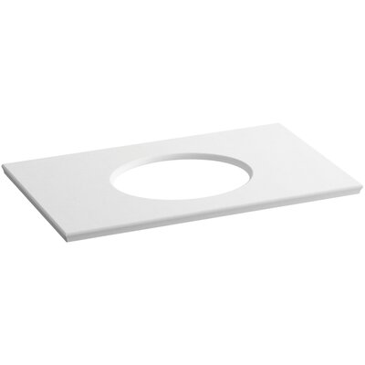 "Solid/Expressions Single Verticyl Oval Cut out 37"" Single Bathroom Vanity Top Finish: White Expressions"