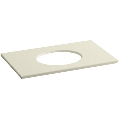 "Solid/Expressions Single Verticyl Oval Cut out 37"" Single Bathroom Vanity Top Finish: Almond Expressions"