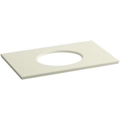 "Solid/Expressions Single Verticyl Oval Cut out 37"" Single Bathroom Vanity Top Finish: Biscuit Expressions"