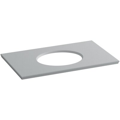 "Solid/Expressions Single Verticyl Oval Cut out 37"" Single Bathroom Vanity Top Finish: Ice Grey Expressions"