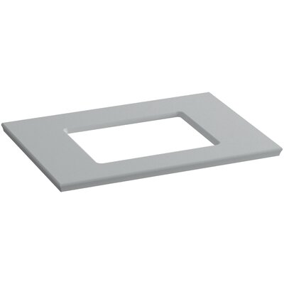 "Solid/Expressions Single Verticyl Rectangular Cutout 31"" Single Bathroom Vanity Top Finish: Ice Grey Expressions"