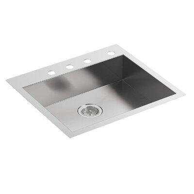 """Vault 25"""" L x 22"""" W x 6-5/16"""" Single Bowl Dual-Mount Kitchen Sink with 4 Faucet Holes"""