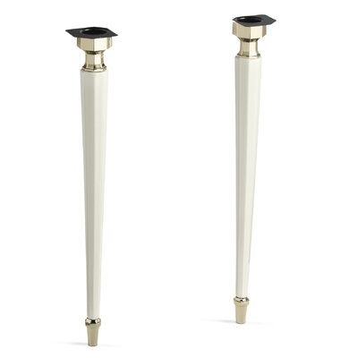 Kathryn Octagonal Fireclay/French Gold Tapered Brass Table Legs Finish: Biscuit