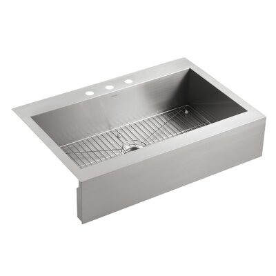 """Vault 35-3/4"""" L x 24-5/16"""" W x 9-5/16"""" Top-Mount Single-Bowl Stainless Steel Kitchen Sink with Shortened Apron-Front for 36"""" Cabinet"""