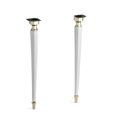 Kathryn Octagonal Fireclay/French Gold Tapered Brass Table Legs Finish: White