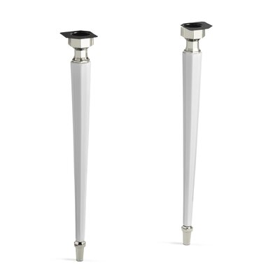 Kathryn Octagonal Fireclay/Polished Chrome Tapered Brass Table Legs Finish: White