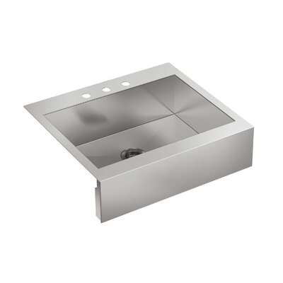 """Vault 29-3/4"""" L x 24-5/16"""" W x 9-5/16"""" Top-Mount Single-Bowl Stainless Steel Kitchen Sink with Shortened Apron-Front for 30"""" Cabinet"""