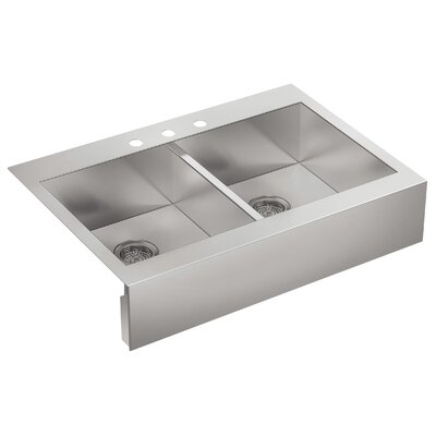 """Vault 35-3/4"""" L x 24-5/16"""" W x 9-5/16"""" Top-Mount Double-Equal Stainless Steel Kitchen Sink with Shortened Apron-Front for 36"""" Cabinet"""