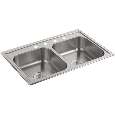 """Toccata 33"""" L x 22"""" W x 6"""" Top-Mount Double-Equal Bowl Kitchen Sink"""