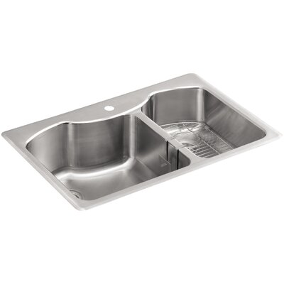 """Octave 33"""" L x 22"""" W x 9-5/16"""" Top-Mount Large/Medium Double-Bowl Stainless Steel Kitchen Sink with Single Faucet Hole"""