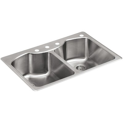 """Octave 33"""" L x 22"""" W Top-Mount Double-Equal Kitchen Sink with Four-Faucet Holes"""