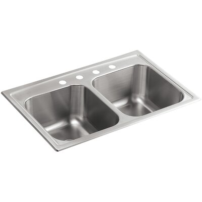 """Toccata 33"""" L x 22"""" W x 9-1/4"""" Top-Mount Double-Equal Kitchen Sink"""