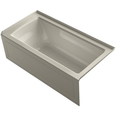 Archer Alcove Bath with Bask Heated Surface, Integral Apron, Tile Flange and Right-Hand Drain Finish: Sandbar