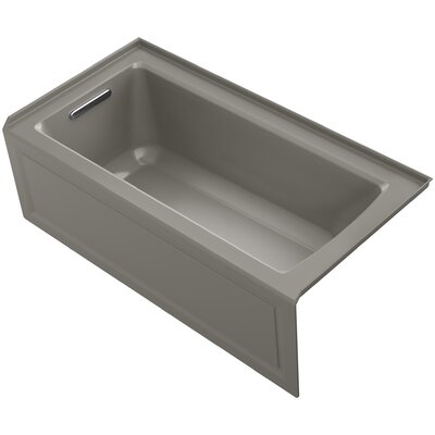 Archer Alcove Bath with Bask Heated Surface, Integral Apron, Tile Flange and Right-Hand Drain Finish: Cashmere