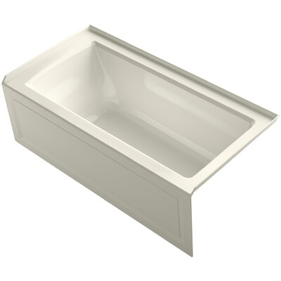 Archer Alcove Bath with Bask Heated Surface, Integral Apron, Tile Flange and Right-Hand Drain Finish: Biscuit